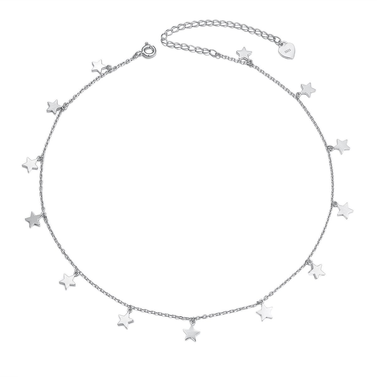 Sterling Silver Jewelry Lucky Star Choker Necklace Pendant Disc Chain Statement Necklace For Women Girls