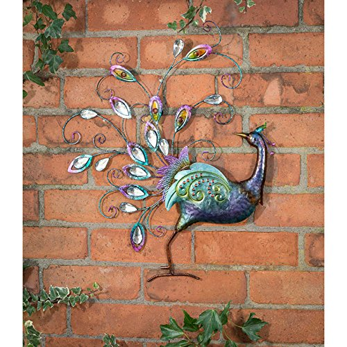 spot on dealz Hand-finished Diamante Peacock Wall Art With Jewel Details - Back Facing Garden