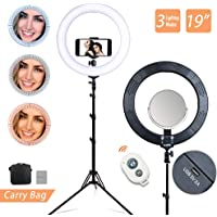 """VOLKWELL 19"""" 80W 2700K-5500K Dimmable Diva LED Ring Light Diffuser Kit with Stand Phone Holder Make Up Mirror for Studio Video Shooting Live Streaming Youtuber Beauty Blogger"""