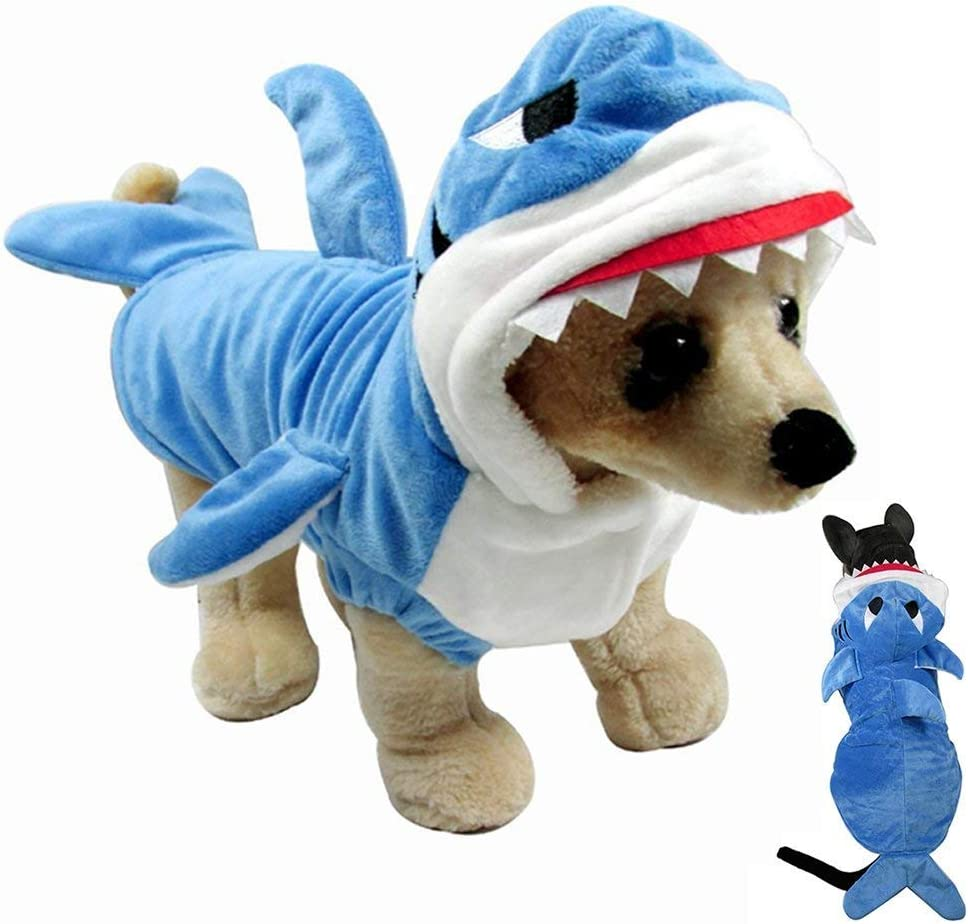 Gimilife Funny Dog Cat Shark Costumes, Pet Halloween Christmas Cosplay Dress, Halloween pet Costumes Pet Pajamas Clothes Hoodie Coat Puppy Winter Coat for Small Medium Large Dogs and Cats