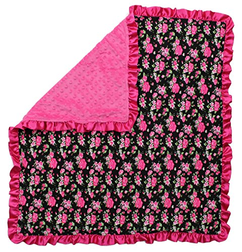 (Dear Baby Gear Baby Blankets, Vintage Floral Hot Pink on Black, Hot Pink Minky, 32 Inches by 32)