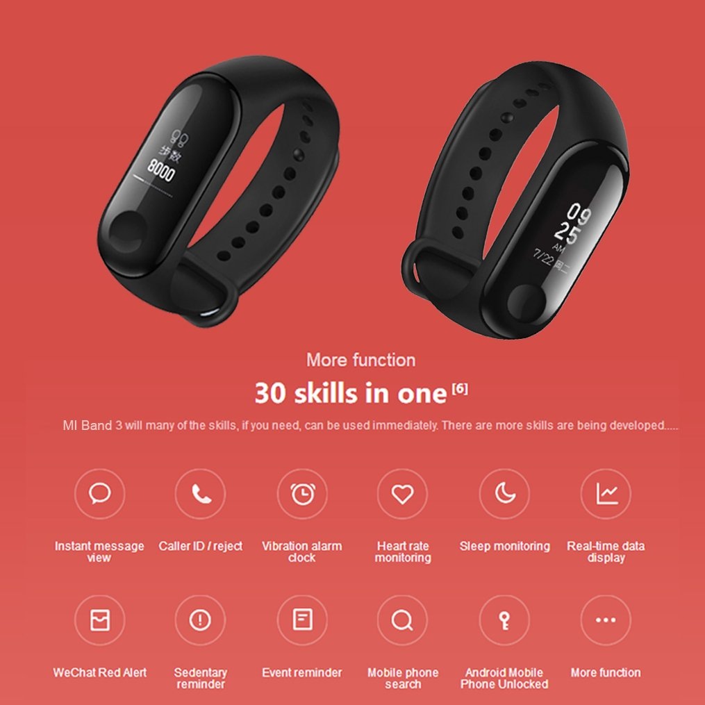 Xiaomi Mi Band 3 Fitness Tracker 50m Waterproof Smart Band Smartband OLED Display Touchpad Heart Rate Monitor Wristbands Bracelet, Black