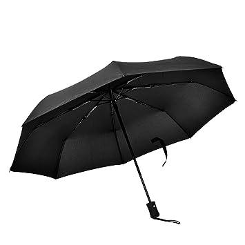 Alomejor Paraguas Plegable Auto Open Ligero Protección UV para Rainy Sunny(Black)