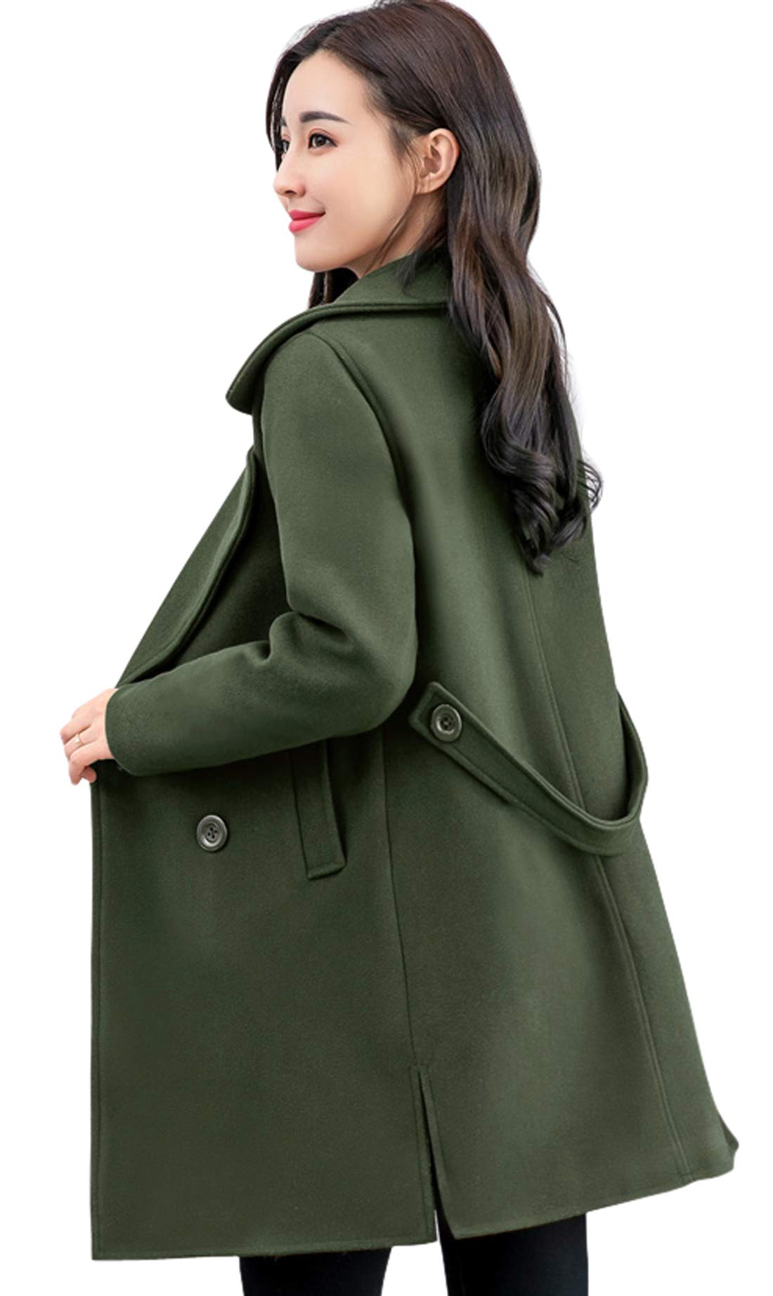 chouyatou Women's Elegant Lapel Collar Double Breasted Wool Blend Pea Coat with Belt