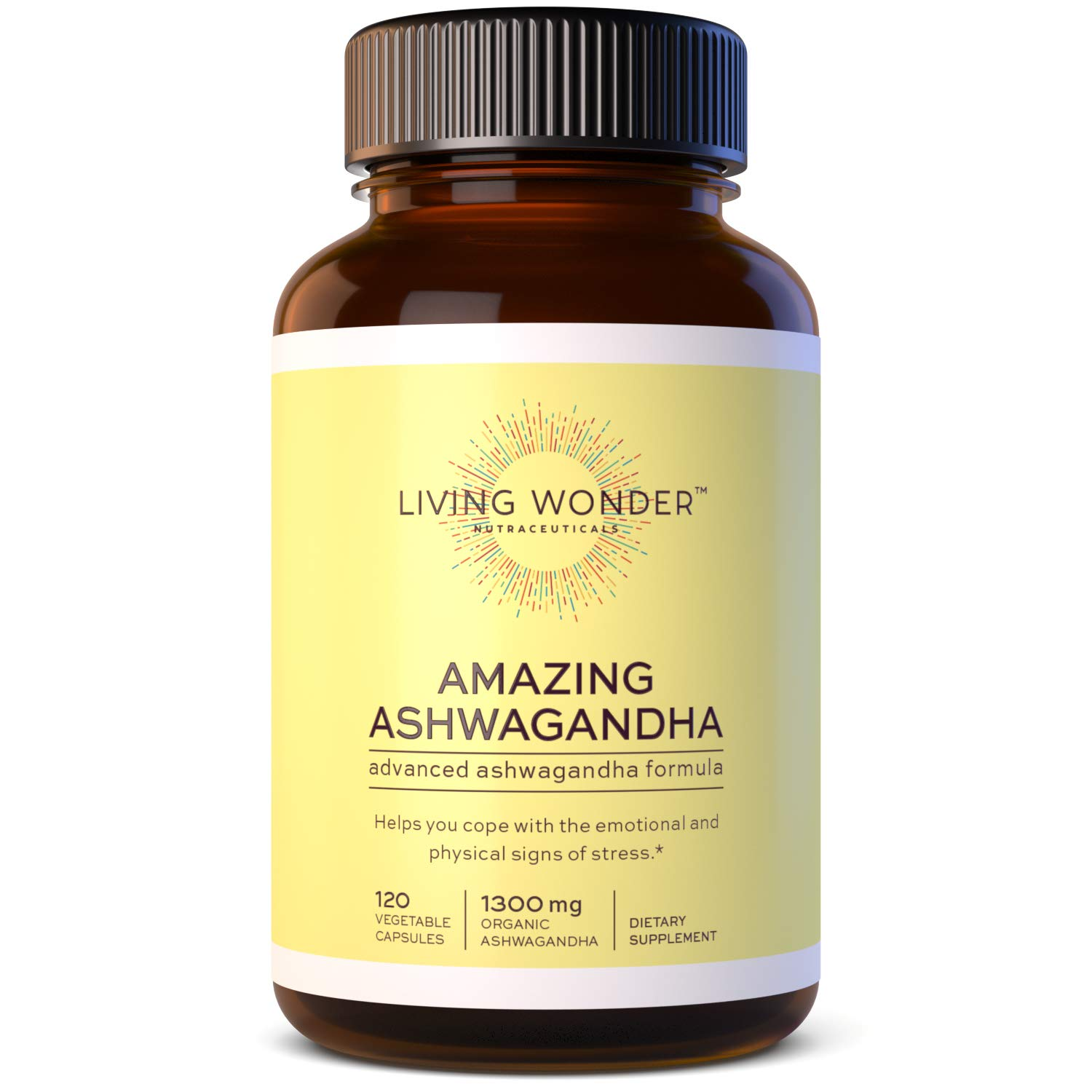 Living Wonder Ashwagandha Capsules - 1300mg -Organic Ashwaganda, with Black Pepper, Calming Blend - Adaptogen Herb for Anti Anxiety, Stress Relief, Adrenal Supplement - 120 Capsules