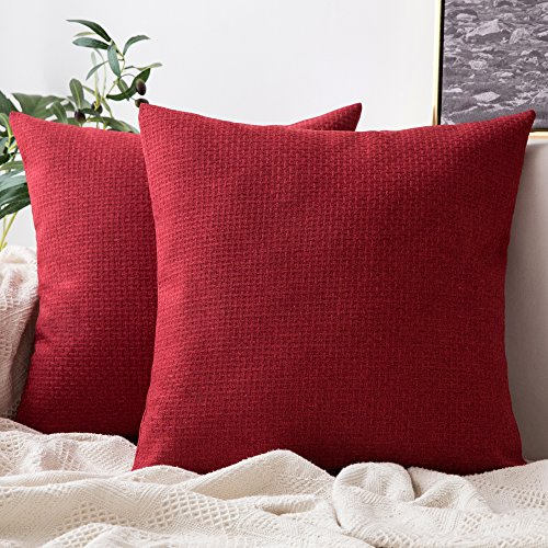 MIULEE Pack of 2 Decorative Plaids Woven Pillow Cover Checked Soft Soild Square Weave Throw Pillow Sham Home Decor Design Cushion Case for Sofa Bedroom Car 18x18 Inch 45x45 cm