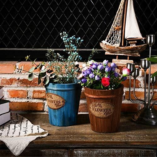 天然木のプランター/植木鉢、素朴な植木鉢,Blue-15.5×11×17.5cm