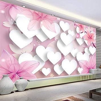 Papel Pintado Fotomural Corazon rosa Fondo de Pantalla 3D ...
