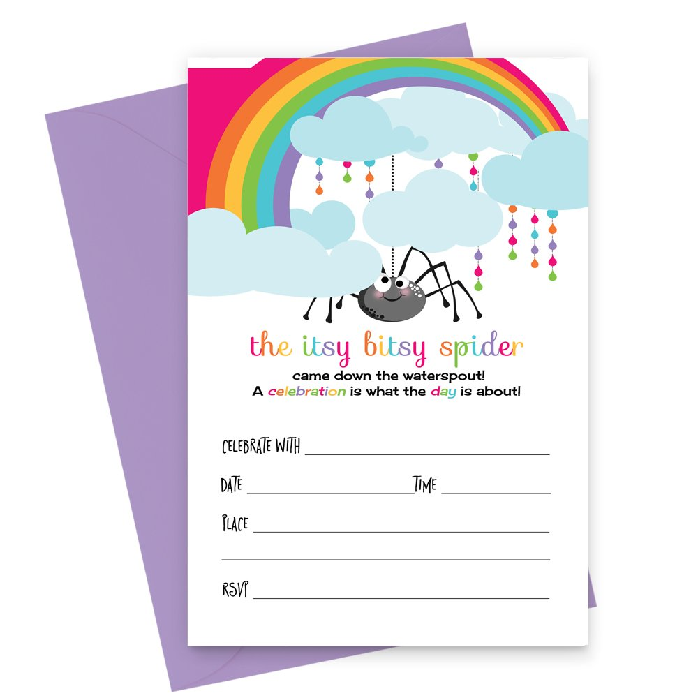 Itsy Bitsy Spider Party Invitations with Purple Envelopes Set of 15 Cards