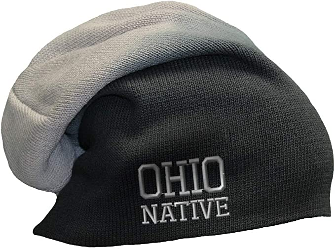 Black-gray slouchy native Ohio state beanie