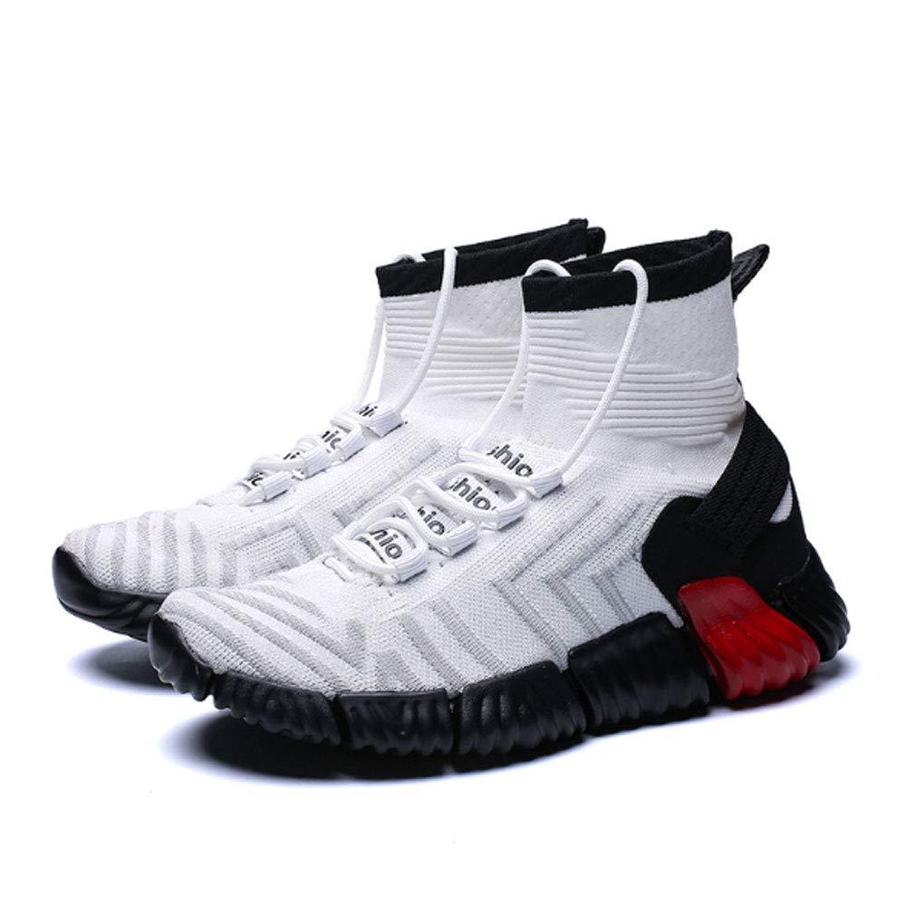 ASDFGH Chaussures de Basket-Ball, Haute Aide Respirante, à l'absorption des Chocs antidérapante, Respirante, Aide Chaussures pour Hommes, Chaussettes, Chaussures de Sport,White,46 46|White 9974da