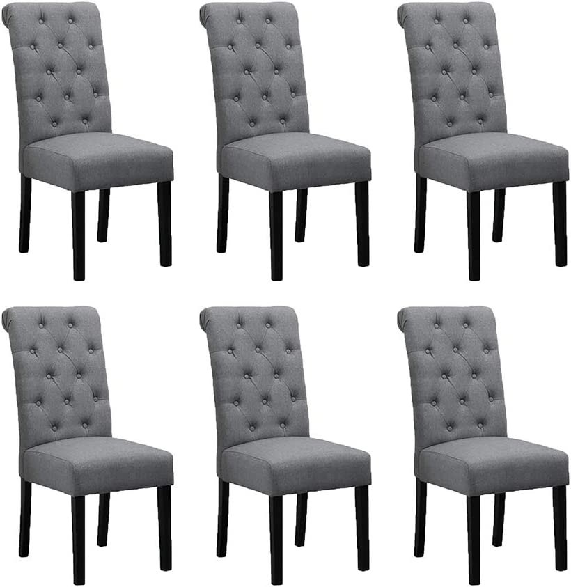 Boju 6 Comfortable Dining Room Chairs Armless Only Set Of 6 Grey Fabric Upholstered High Back Kitchen Chairs Side Chairs For Bedroom Living Room Padded Chairs Wood Black Legs Chairs X6 Amazon Co Uk