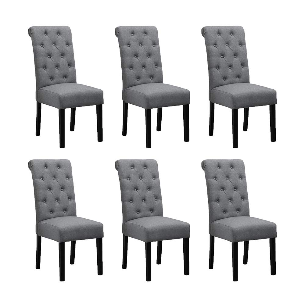 BOJU 6 Comfortable Dining Room Chairs Armless Only Set of 6 Grey Fabric  Upholstered High Back Kitchen Chairs Side Chairs for Bedroom Living Room ...