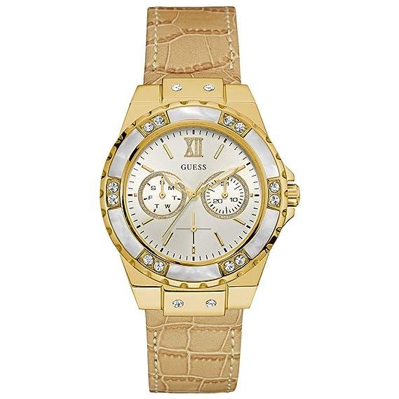 a46c0b8545c3 Guess Reloj analogico para Mujer de Cuarzo con Correa en Tela W0775L2   Amazon.es  Relojes