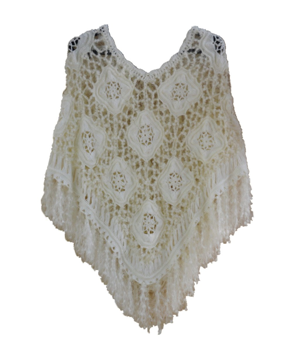 tinacrochetstudio Crochet Fringed Poncho Cape Shawls Wraps Granny Square Womens Coat Sweater (L, Furry)