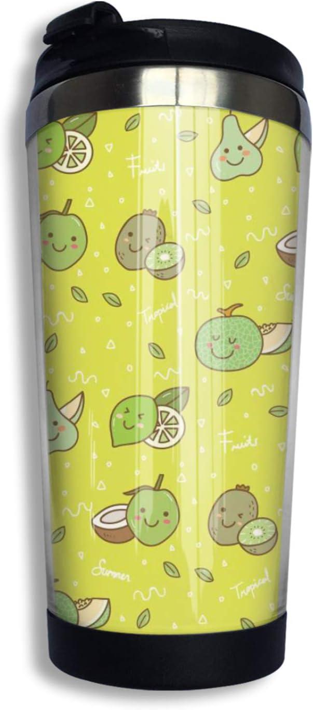 Summer Tropical Cartoon Fresh Kiwi Cantaloupe aguacate doble pared aislado al vacío taza de café de acero inoxidable, botella de agua, vaso de viaje, taza de té con tapa 14 oz