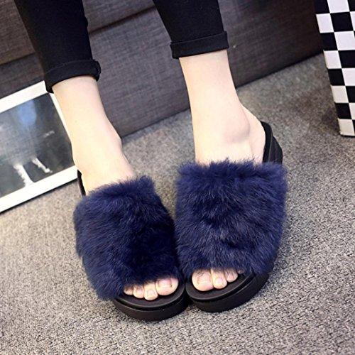 Ouneed Women Thick Bottom Sliders Fluffy Faux Fur Sandal Blue fs5GFy