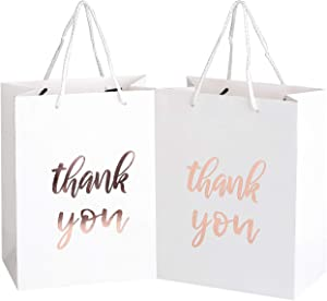 "12 Pack Thank You Gift Bags - Elegant Paper Gift Bags with ''Thank You'' Embossed in Rose Gold Foil Letters - Perfect for Birthday Party, Wedding Party, Paper Favor Bags 4""x 7""x 9"" Inches - White"