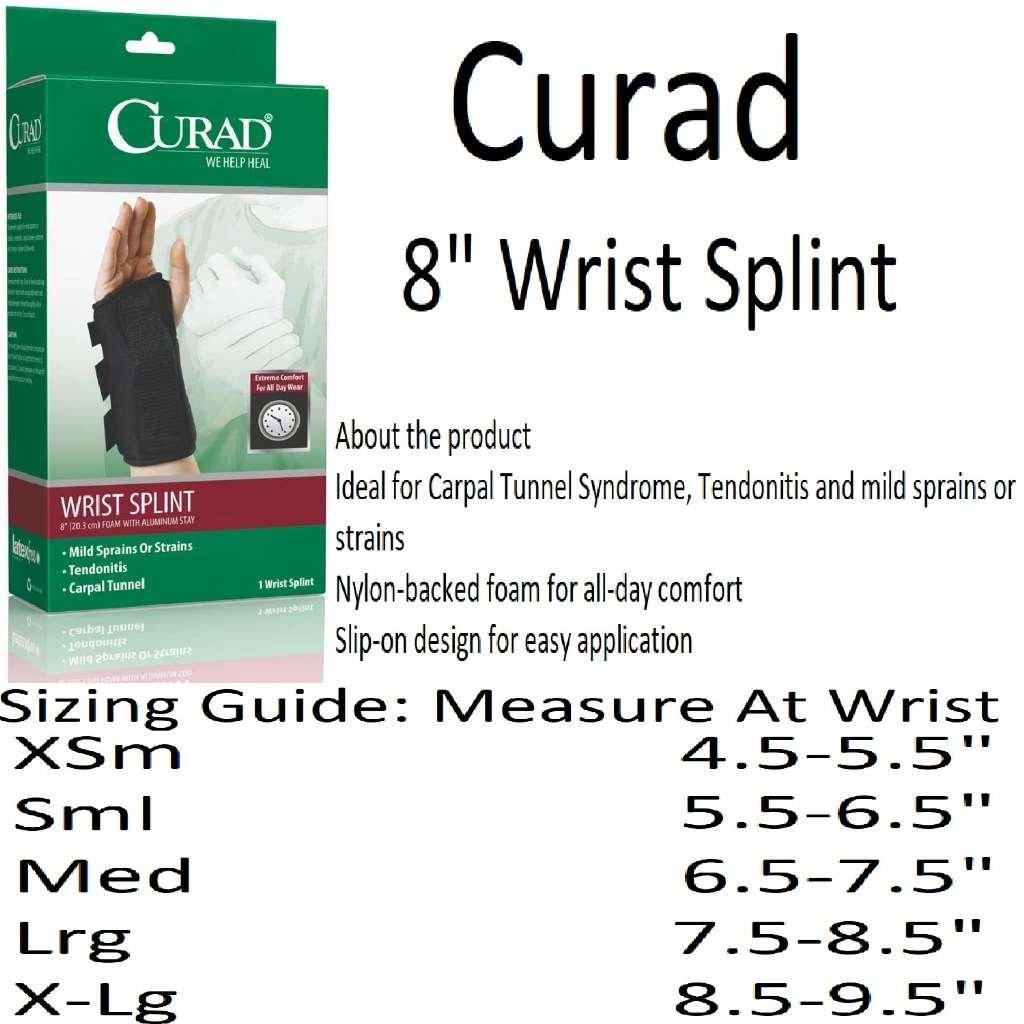 Curad Foam Wrist Splint with Aluminum Stay, Right, Small