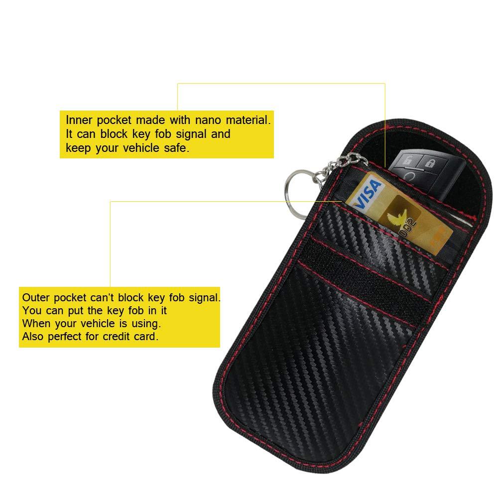 Vehicle Keyless Entry RFID Blocking Bag for Car Keys and Credit Card Fob Guard//Anti Theft//WiFi NFC GSM LTE RF Block Faraday Case Car Key Signal Blocking Pouch Bag Faraday Case Bag for Key Fob