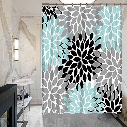 Multicolor Dahlia Pinnata Flower Waterproof Fabric Shower Curtain for Small Bathroom Size 60