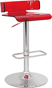 ACME Furniture 96262 Rania Adjustable Stool with Swivel, Red & Chrome