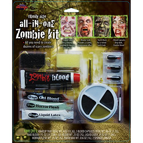 Family Size All In One Zombie Kit Costume Makeup -