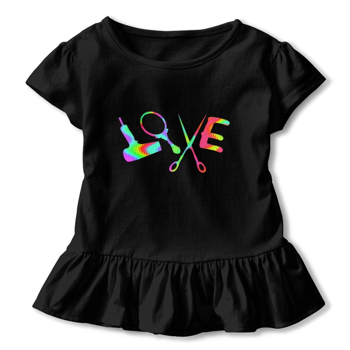 CZnuen Colorful Hair Stylist Love Baby Girls Basic Short Puff Sleeve Round Neck Ruffle T-Shirt