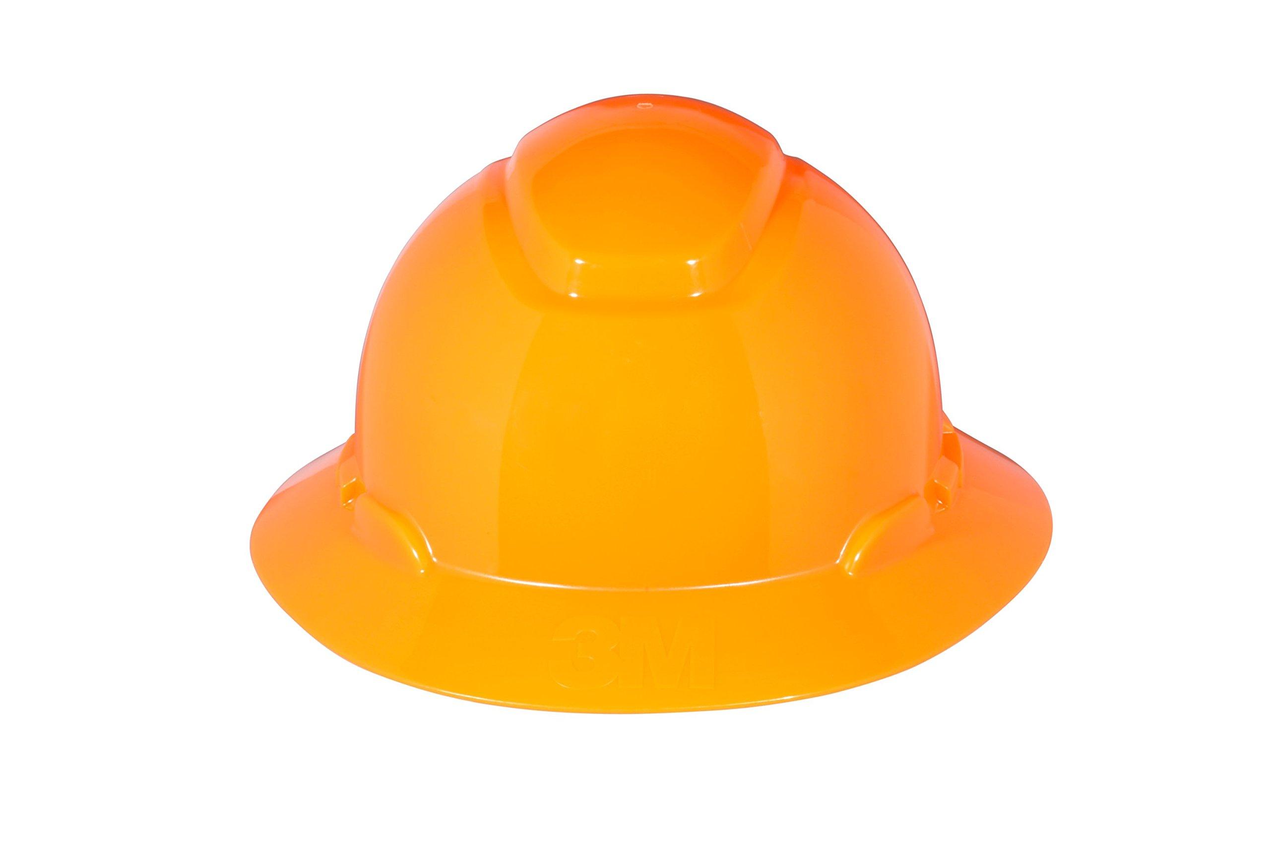 3M Full Brim Hard Hat H-807R, 4-Point Ratchet Suspension, Hi-Vis Orange
