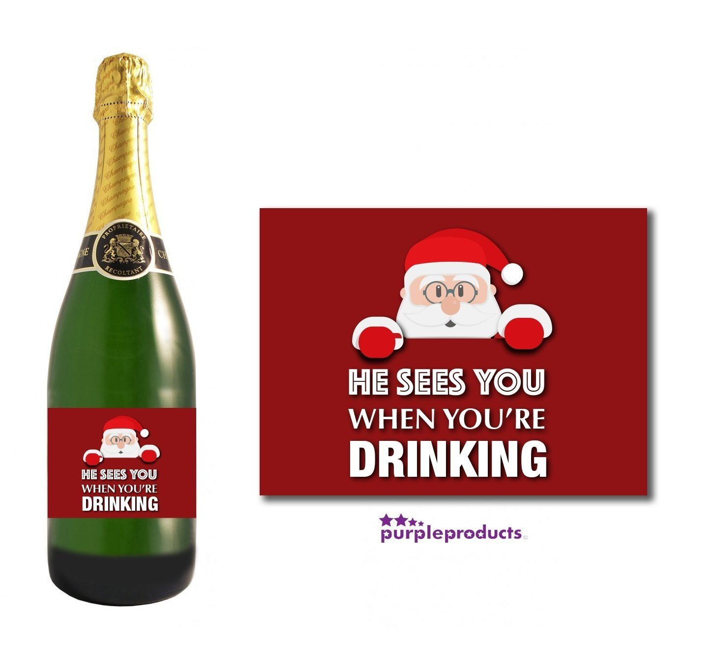 Champagne Champagne Label He Sees You When Youre Drinking Christmas Wine Beer Label Gift Present for Women and Men