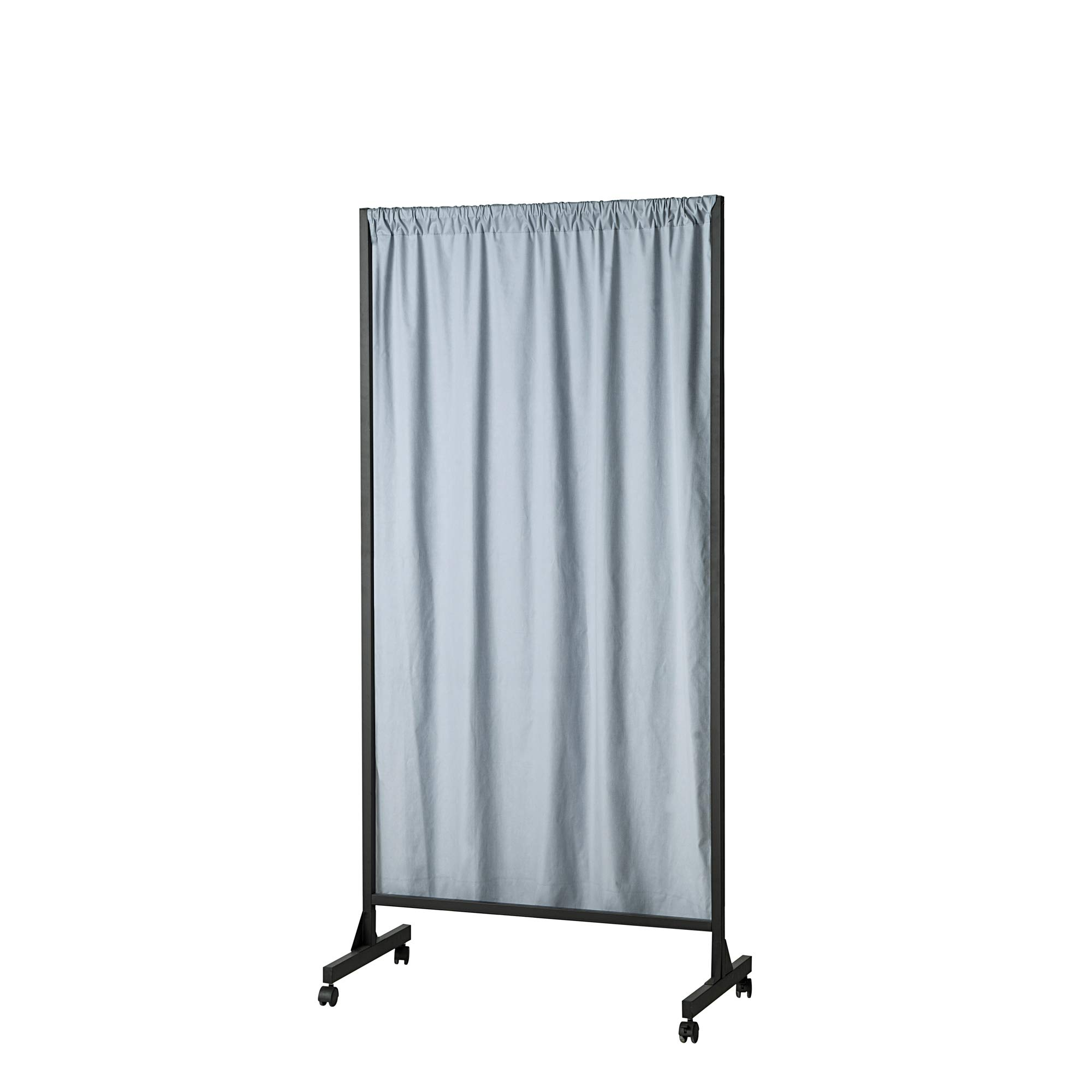 Don't Look at Me - Partial Room Divider - Black Frame with Faded Denim Cotton Fabric