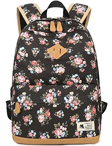 - Flora Backpack for Girls, Canvas School Bookbag College Laptop Bag Women Daypack Travel Rucksack (Black)