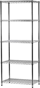 """18"""" d x 30"""" w x 54"""" h Chrome Wire Shelving with 5 Shelves"""