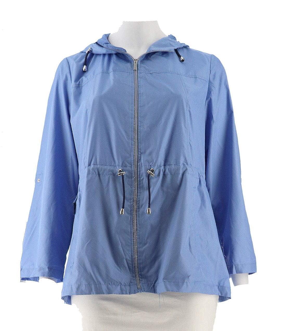 usa cheap sale united kingdom top brands Susan Graver Packable Anorak Jacket Hood Periwinkle Blue S ...