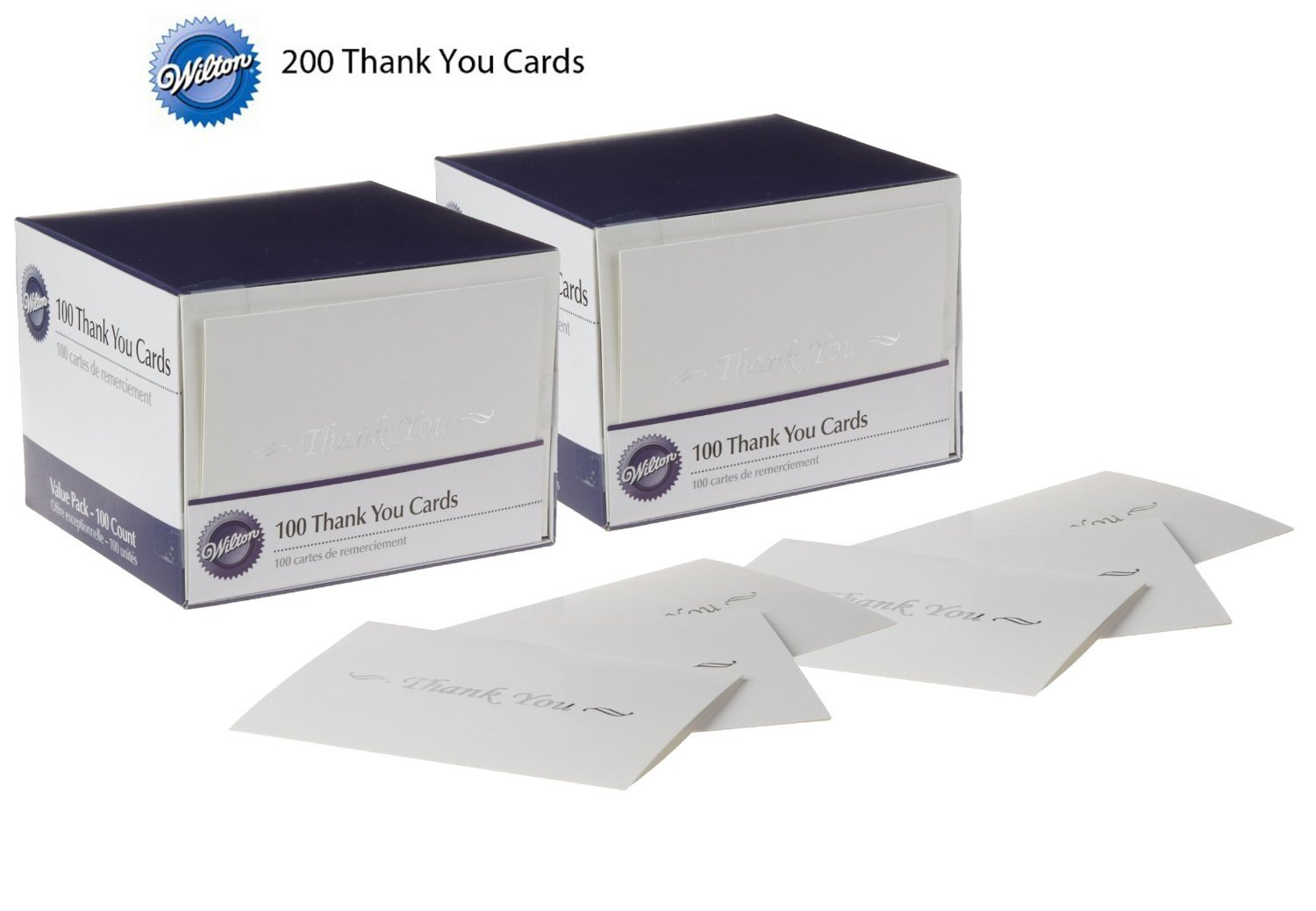Wilton 100-Pack Basic Thank You Cards - 200-Pack