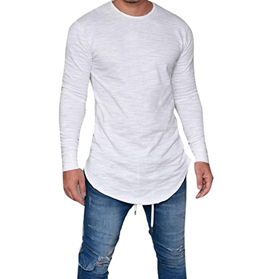 Toamen Hombres Camiseta Slim Fit O Neck Long Sleeve Muscle tee Tops Casual Blusa (S