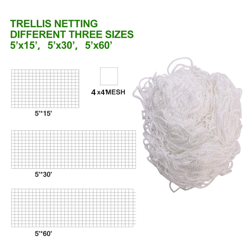 TRELLIS NETTING 5/'x15/' Heavy Duty Nylon Net GREAT PLANT SUPPORT Made in USA