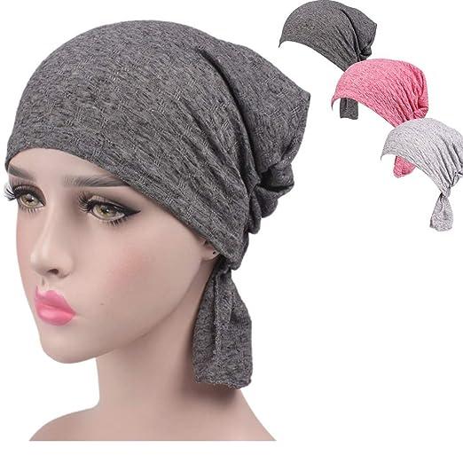 2cc20a3b430 Night Chemo Hat Sleeping Cap - Grey Pink 3 Packs Slouchy Slouchie Lightweight  Light Thin Jersey
