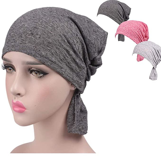 f3fbd75074e Night Chemo Hat Sleeping Cap - Grey Pink 3 Packs Slouchy Slouchie  Lightweight Light Thin Jersey