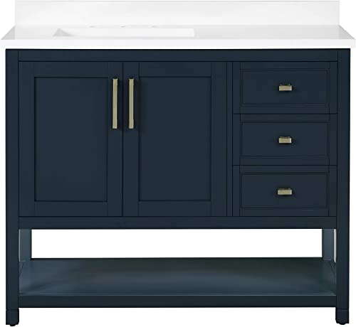 Ove Decors Stanley 42 inch Bathroom Vanity Combo Freestanding Bath Cabinet | Modern Single Sink