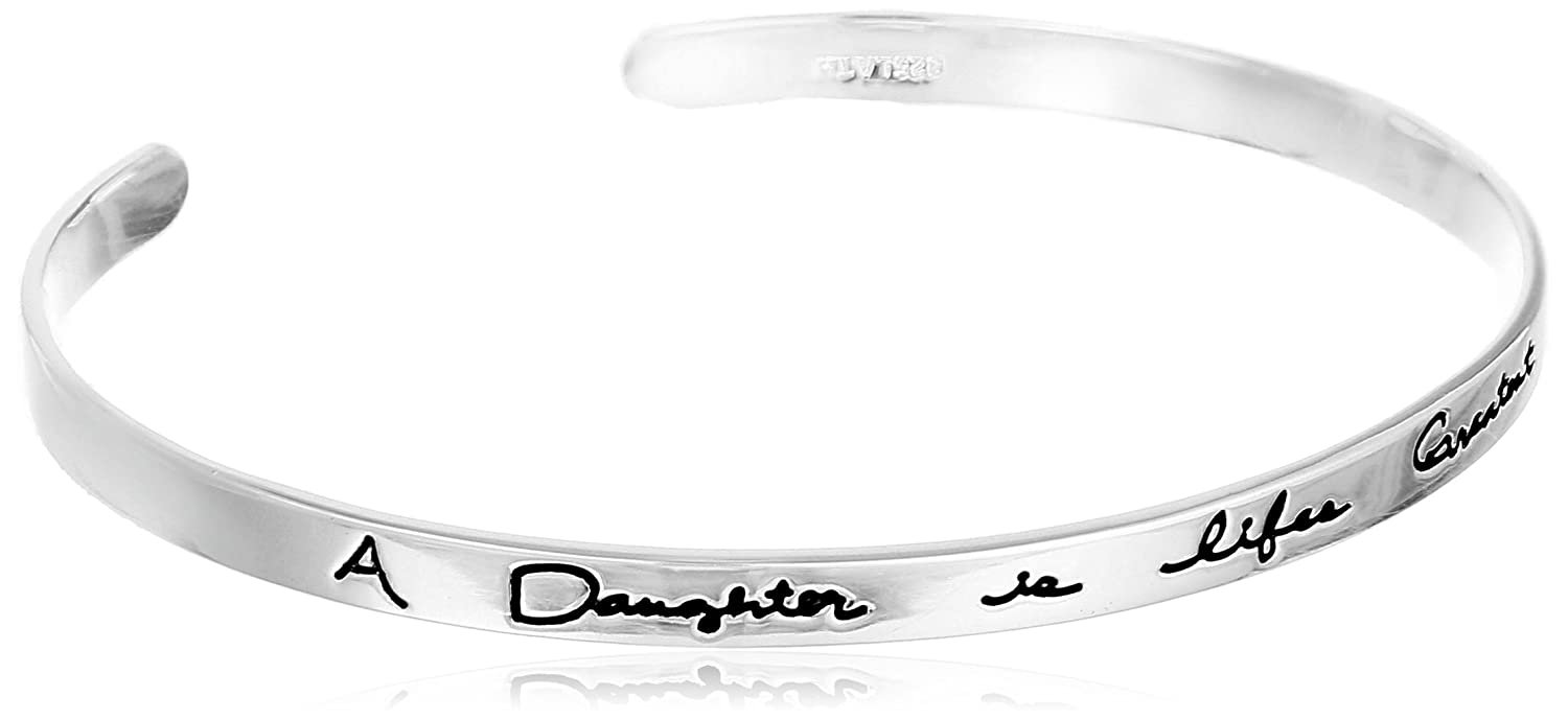 Sterling Silver A Daughter is Life's Greatest Gift Cuff Bracelet Amazon Collection 536921