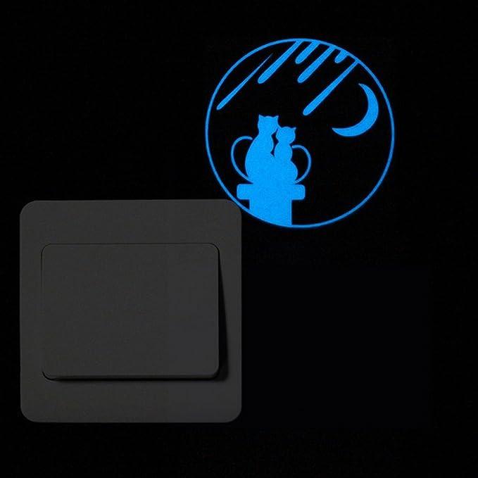 JiaMeng Decoración del hogar, Etiqueta engomada Luminosa del Interruptor Lindo de la Historieta Etiqueta engomada desprendible de la Etiqueta engomada ...