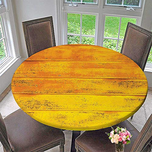 (Mikihome Luxury Round Table Cloth for Home use Yellow The Wooden Background Texture from Oak Tree Timber Design for Buffet Table, Holiday Dinner 59