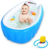 Baby Inflatable Bathtub Intime Children Anti-slippery Swimming Pool Foldable Travel Air Shower Basin Seat Baths Big Size (For 0-3 Years) with air pump (Blue)