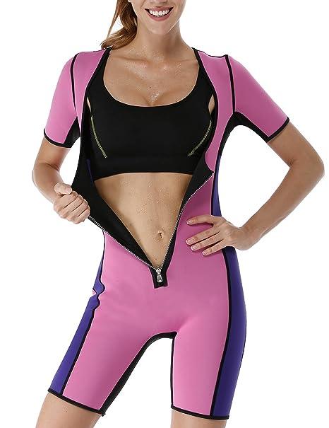 LaLaAreal Faja Modeladora de Neopreno Traje de Cuerpo Sauna Shapewear con Mangas para Deporte , Perdida