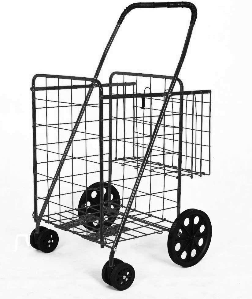 PrimeTrendz Folding Shopping Cart Double Basket Jumbo Size 150lb Capacity by USA Cash and Carry | Black