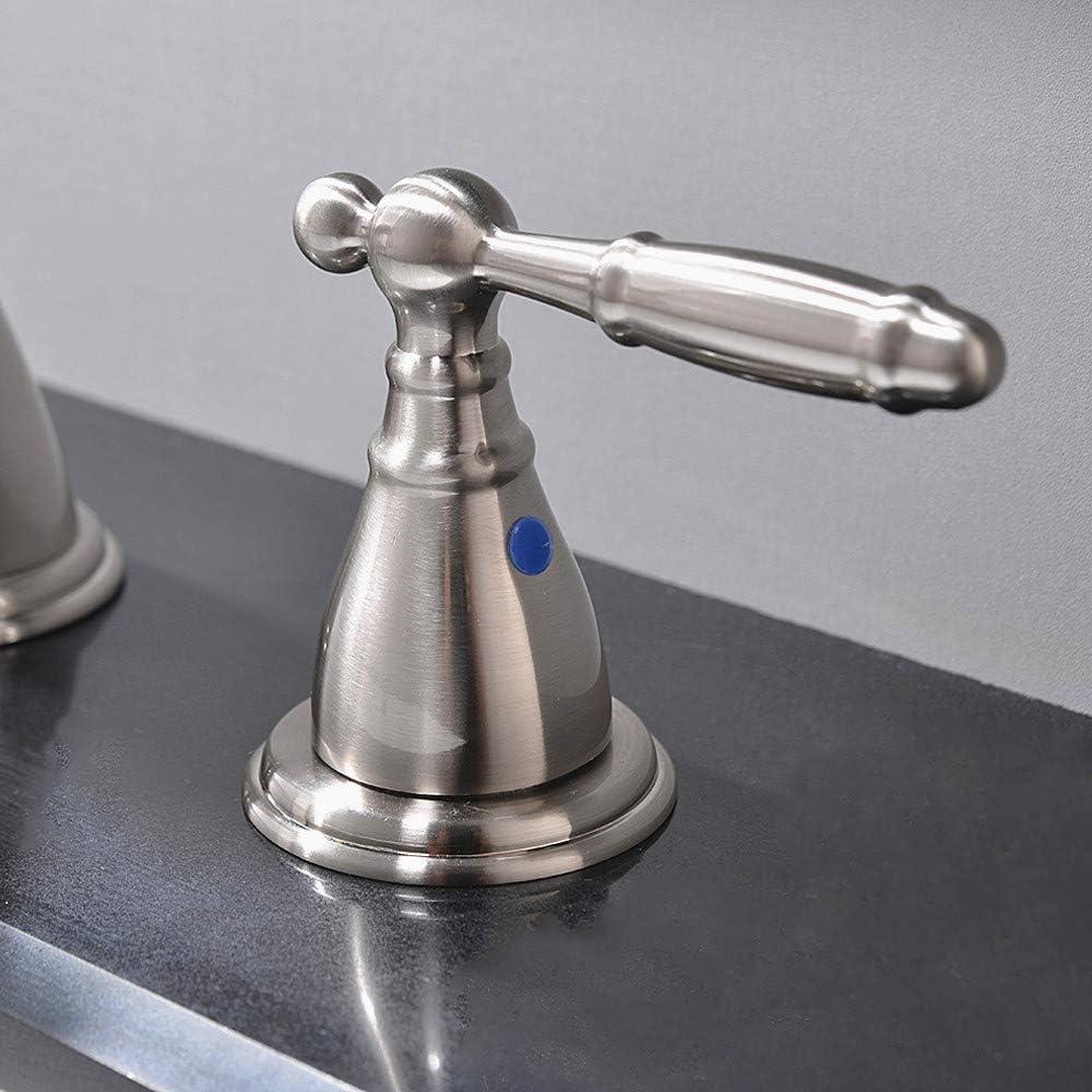 PHIESTINA Solid Brass Brushed Nickel Two Handle Widespread Bathroom Sink Faucet Brushed Nickel 2 Handles Widespread Bathroom Faucet with Stainless Steel Pop up Drain