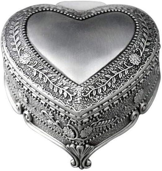 Cuzit - Caja de música con forma de corazón de metal, diseño de flores antiguas, para decoración del hogar, oficina, regalo de cumpleaños: Amazon.es: Hogar