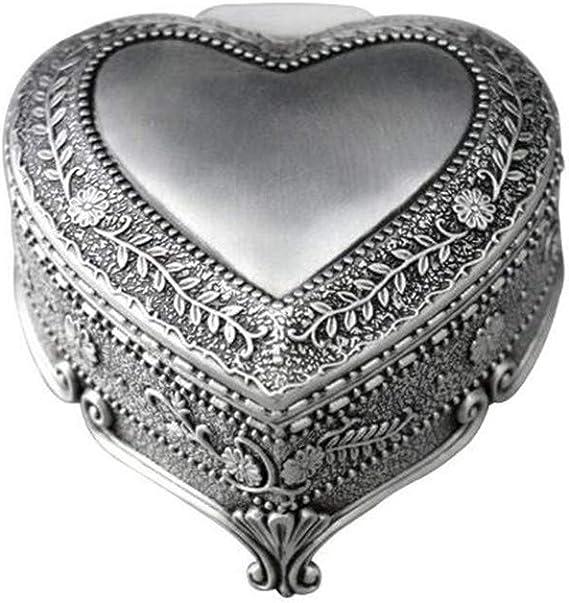 Caja de música Cuzit de metal con forma de corazón antiguo, diseño vintage con flores en relieve, caja musical para decoración del hogar, oficina, regalo de cumpleaños: Amazon.es: Hogar