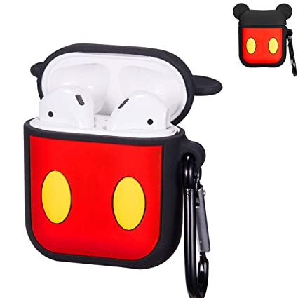 save off b70d2 ff06e Punswan Black Mickey Airpod Case for Airpods 1&2,Cute 3D Funny Cartoon  Character Soft Silicone Catalyst Cover,Kawaii Fun Cool Keychain Design ...